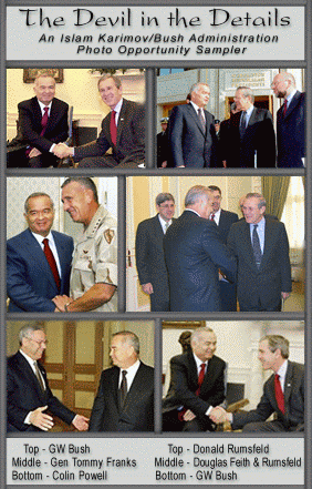 A compilation of photos of Islam Karimov with Bush administration officials