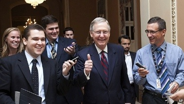 photo of Senator Mitch McConnell smiling