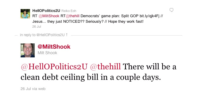 screen-grab of Twitter user @MiltShook predicting a clean debt-ceiling raise on July 26, 2011