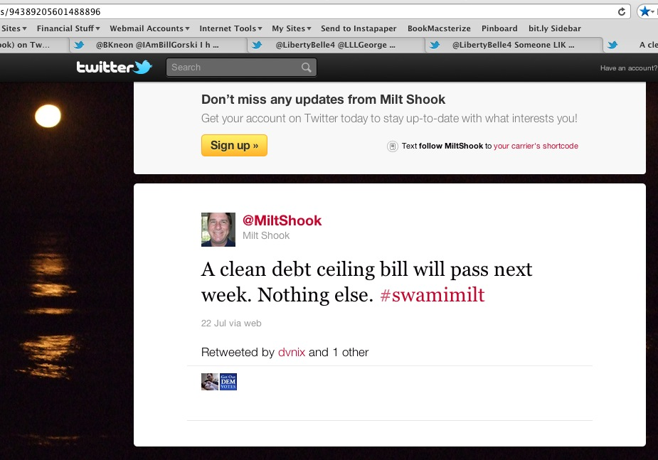 screen capture of @MiltShook claiming on July 22 that a clean debt ceiling bill will pass
