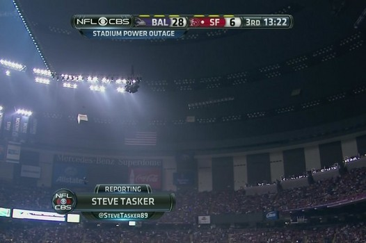 photo of the power failure at 2013 Super Bowl