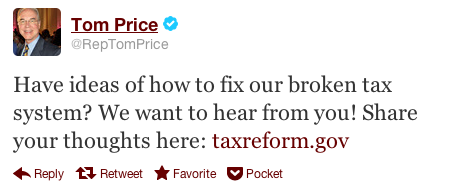 image of Tom Price tweet