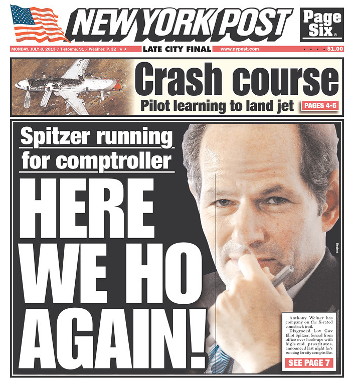 photo of NYPost front page from 7/8/13