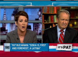 photo of Rachel Maddow and Pat Buchanan