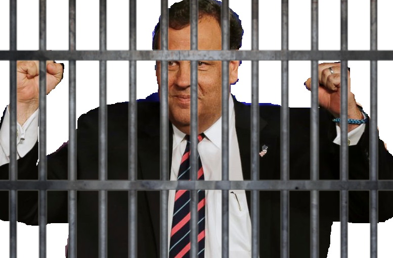 photo of Chris Christie behind bars