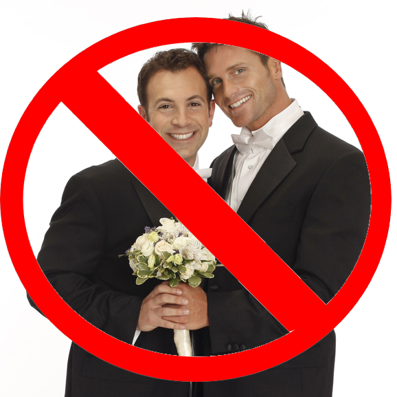 photo of two men getting married with strikethrough