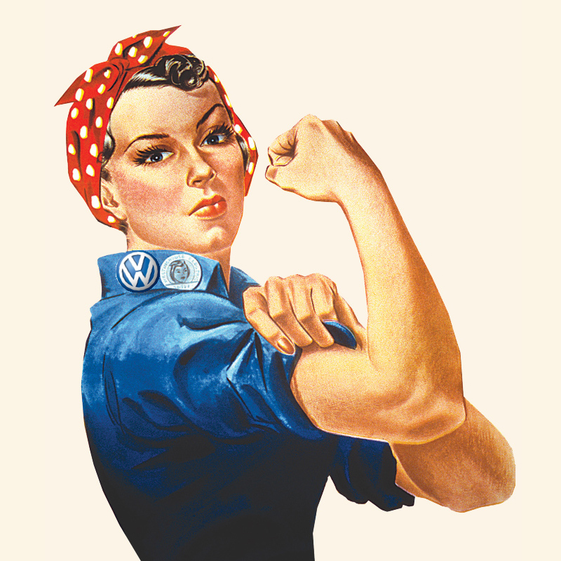 photo of Rosie the Riveter with VW logo