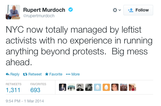 image of tweet from Rupert Murdoch